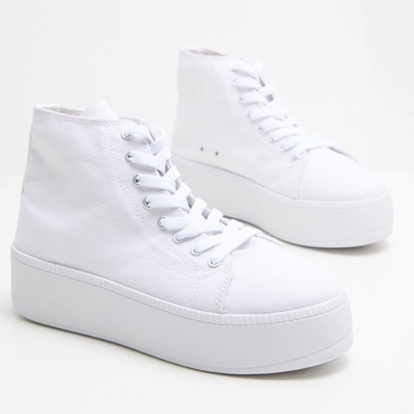 White High Top Platform Sneakers